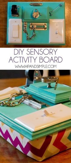 DIY Sensory Activity Board Tap the link to check out fidgets and sensory toys! Dementia Activities, Motor Activities, Infant Activities, Preschool Activities, Diy Fidget Toys, Decoration Creche, Sensory Boards, Baby Sensory Board, Sensory Bins