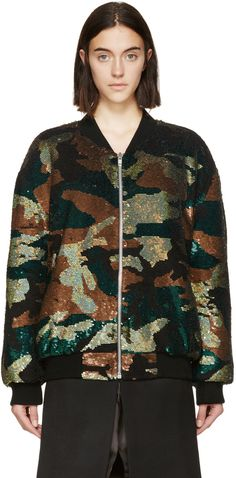 ASHISH Green & Black Sequined Camo Bomber Jacket. #ashish #cloth #jacket