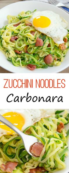 Zucchini Noodles Carbonara. A lighter version of the pasta dish.