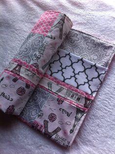 Pink Paris Patchwork Minky Baby Blanket