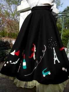 Amazing Vintage 1950's Parisian Multi Scene Felt Circle Skirt Must See   eBay