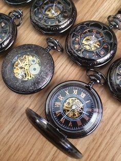 Groomsmen Gift Wedding Gift Antique Black Mechanical Pocket Watch Wedd – PocketWatchKeepsakes