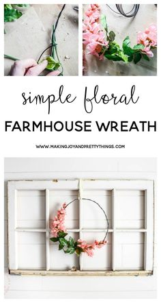 Rustic Farmhouse Wreath Idea with Blossoms Diy Wreath, Wreath Ideas, Frame Wreath, Spring Home Decor, Diy Crafts Spring, Summer Wreath, Spring Wreaths, Farmhouse Style Decorating, Rustic Farmhouse Decor