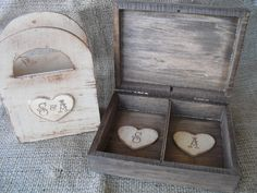 Rustic Ring Bearer Box and Flower Girl Box by dazzlingexpressions