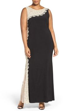 Xscape Lace Side Sleeveless Matte Jersey Gown (Plus Size) available at…