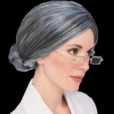 Old Lady Wig costume hair gray senior granny over the hill historical Rubies TV #Rubies #Bun