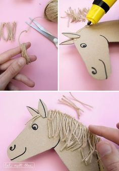 We are making a horse gift box bel turns blue - Tinker horse gift packaging: DIY instructions with handicraft template, packaging idea for the children's birthday party - Diy Gifts For Kids, Crafts For Kids, Toddler Crafts, Anniversaire Cow-boy, Horse Party, Horse Gifts, Experience Gifts, Paper Crafts, Diy Crafts