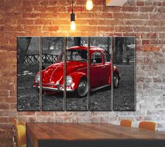 """Buy BIG 5 PANEL SET OF VINTAGE CLASSIC CAR CANVAS WALL ART / CANVAS PRINT POSTER PICTURE / VOLKSWAGEN VW BEETLE BUG WALL PRINT POSTER PAINTING ON CANVAS / HOME WALL DECORATION ON CANVAS / SIZE 55""""35"""" at Walmart.com"""