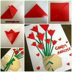 Kart Mothers Day Crafts, Valentine Day Crafts, Valentines, Toddler Crafts, Diy Crafts For Kids, Craft Ideas, Saint Valentin Diy, Rose Crafts, Art N Craft