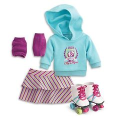 american girl house : American Girl My AG Roller Skating Set + Charm: Toys & Games American Girl Outfits, All American Girl Dolls, Ropa American Girl, American Girl Crafts, Poupées Our Generation, American Girl Furniture, American Girl Accessories, Girl Doll Clothes, Girl Clothing