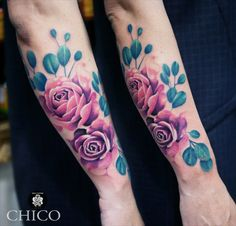 @inkatattoolyon @chicotattooist chez INK'A TATTOO LYON #flowertattoo #colortattoo #watercolortattoo # floraltattoo #inkatattoolyon #rosetattoo #armtattoo Lyon, Tattoos, Flowers, Tattoo Art, Tatuajes, Tattoo, Floral, Royal Icing Flowers, Cuff Tattoo