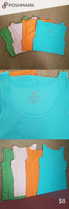 Lot of Faded Glory tank tops Very good condition Faded Glory layering tanks. Size M. No pilling, spots, holes, ect. However, blue tank has spots on shoulder.(See photos) Could possibly be washed out. Some of these were never worn. Faded Glory Tops Tank Tops