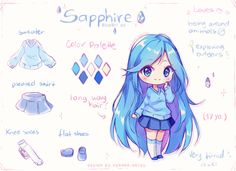 Manga Character Drawing [ Video] Commission - About Sapphire by Hyanna-Natsu - Dibujos Anime Chibi, Cute Anime Chibi, Kawaii Chibi, Kawaii Art, Kawaii Anime, Kawaii Drawings, Cute Drawings, Hyanna Natsu, Image Clipart