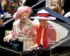 Caption:The Princess of Wales and the Queen Mother in an open-topped landau on their way to the Royal Ascot race meeting, June 1990. The Princess wears a Catherine Walker suit and a Philip Somerville hat. (Photo by Jayne Fincher/Princess Diana Archive/Getty Images)