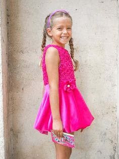 Girls pink floral hand tied - knitted knots macrame cotton velvet crochet lace sleeveless dress in sizes for 2 3 4 5 6 7 8 9 and 10 years old girls.. The bottom part - skirt and the waistband is cotton velvet. The waistband has a handmade cotton velvet flower brooch with pearl for a stamen.    The summer macrame crochet lace short dress has a princess silhouette.  Top part of the dress is hand tied - knitted knots.  The pattern looks like a floral lace. This 3D pattern gives shine…
