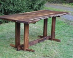 Items similar to Solid Wood Dining Table (Walnut Slab) with Natural Edge and Custom Steel Legs on Etsy Walnut Table Top, Walnut Slab, Solid Wood Dining Table, Modern Dining Table, Live Edge Furniture, Furniture Making, Live Edge Wood, Mortise And Tenon, Wood Grain