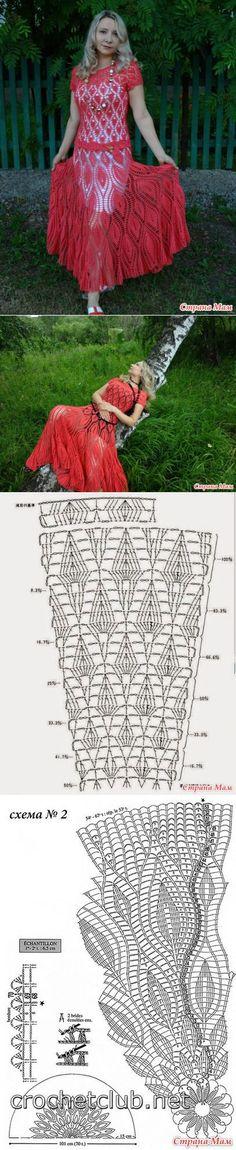 Коралловое платье в пол 'Листья' (много фото) - Вязание - Страна Мам