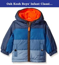 Osh Kosh Boys' Infant Classic Heavyweight Colorblock Puffer Coat, Navy, 24 Months. Classic heavyweight color block puffer coat with sleeve detail.
