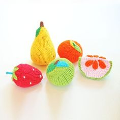 Knitted fruit rattles, or just for fun without the rattles.