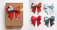 make these fantastic diy origami bows using magazines