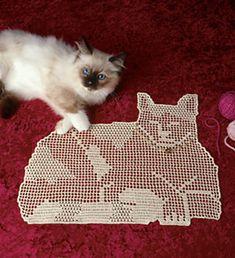 Ravelry: Filet Crochet Pretty Kitty.  Free pattern by Maggie Petsch Chasalow.