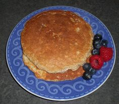 LOW CARB Protein Pancakes (non-dairy): 1/2cup Quaker Oats, 1/2cup hot water (to cook oats), 1 scoop low carb protein powder, 1/4cup egg whites, 1/4 tsp. ground cinnamon (to taste) .... can also add almond extract with almond butter or blueberries as toppings..