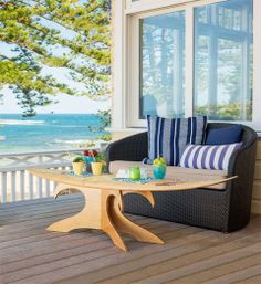 See some of our DIY Coffee Table Plans and Ideas and build your own coffee table. Patio Table, Diy Table, Outdoor Tables, Outdoor Decor, Surf Decor, Diy Coffee Table Plans, Surfboard Coffee Table, Patterned Sheets, Better Homes And Gardens