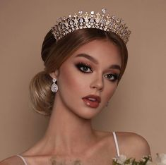 Our Gorgeous Crown BEATRIX Luxurious Elegance Fit for a Princess - Available - website in bio - Dm for Questions . Wedding Hair And Makeup, Bridal Makeup, Bridal Hair, Hair Makeup, Crown Hairstyles, Bride Hairstyles, Peach Makeup, Floral Headdress, Pageant Hair