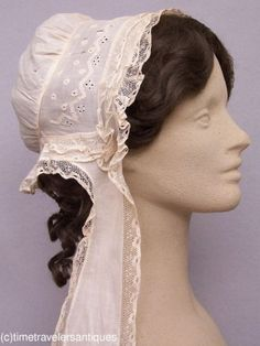 Lovely c1850 Lady's Embroidered Muslin Day Cap | eBay seller time-travelers; de-accessioned from museum; ruffled Mechlin lace trim.