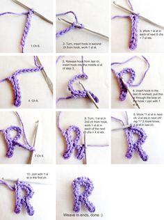 How to Crochet Letters - Tutorial ❥ 4U // hf