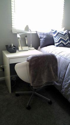 Vanity idea in my daughter's 9 x 11 small space bedroom - IKEA MICKE Desk $49.99, IKEA SKRUVSTA Swivel chair $149.99, IKEA TYSNES Table mirror $14.99, IKEA TRAL Work lamp $24.99
