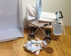 ooak dolls house baby boy and handmade pram 1/12 scale