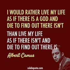 Live Life - God.  by: Albert Camus  (and let me be clear, that I DO believe there IS a God!)