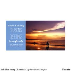 Soft Blue Sunny Christmas Holiday Greetings Cards Happy holidays to you and your loved ones! What could be warmer than wishes from the beach? Customize this design to make it absolutely perfect. This design features a soft blue background, white playful cursive text, and best wishes from the heart. Add your photo, customize the text, and make this sharp design into your own unique greeting. Order your cards fast, and check one more thing off your yearly to-do list!