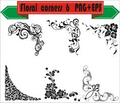 Floral Corner Flowers Plant Border Retro Vector Clipart PNG EPS Set Digital Files Scrapbook Supplies Clip Art Instant Download by VectorArtShop on Etsy
