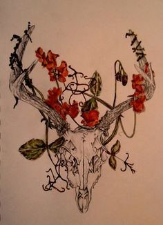 Watercolour/Sketch of a deer skull with flowers