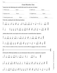 Orchestra classroom: Beginning Final Rhythm and Fingering Test