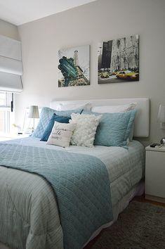 quarto de casal decorado branco da blogueira 2beauty. Blog Achados de Decoração