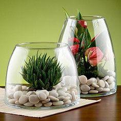 Macetas con recipientes de cristal