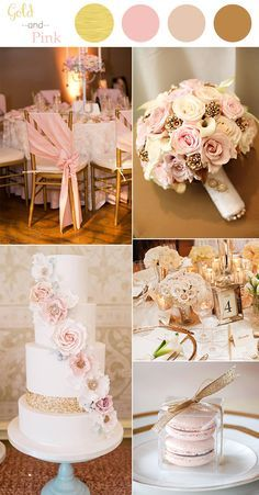 48 perfect pink wedding color combination ideas wedding colors vintage pink and gold wedding color ideas for 2016 junglespirit Choice Image
