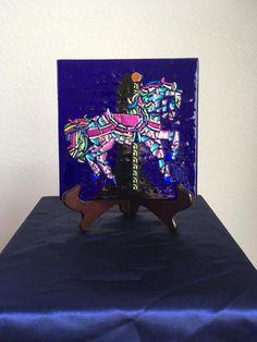My Carousal Horse Dichroic Glass Art Carousal Horse | Etsy Art Stand, Carousel Horses, Magical Unicorn, Panel Art, Dichroic Glass, Art For Sale, Glass Art, Art Pieces, Display