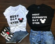 Disney couple shirts Disney matching shirts Disney World matching shirts Disney trip His and Hers Shirts Best Day Ever Most Expensive Day Disney World Outfits, Disney Couple Outfits, Disney Vacation Shirts, Disneyland Outfits, Disney World Shirts, Disney Couples, Disney Shirts For Family, Disney World Trip, Family Shirts