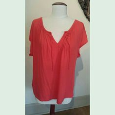 Vibrant Coral Red Drawstring Top Great color - very blousy and lightweight top. It has a drawstring at the neck and cap sleeves. Size Medium but runs big - made from 50% pima cotton 50% modal. No swaps or trades Splendid Tops