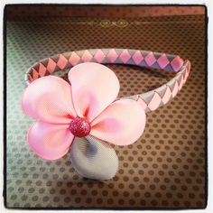 Pink and Gray Flower Hairclip with Woven by BellesBows2011 on Etsy, $10.00