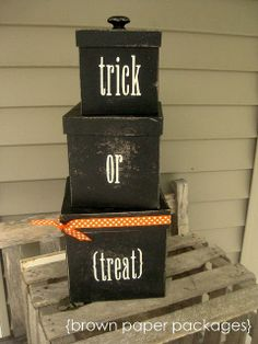 brown craft boxes (I found the boxes at Hobby Lobby for less than $10 for all three--sized 5, 6, and 7 inches. paint black, sticker letters, ribbon, knob.......so cute and simple
