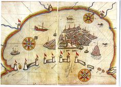 Map of Venice by Ottoman geographer and cartographer Piri Reis.