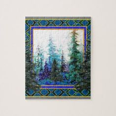 Fdecorative Western Blue Forest Jigsaw Puzzle