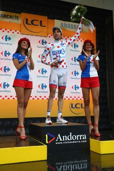 #ThibautPinot of France and FDJ with the polka dot King of the Mountains jersey following the 184.5 km stage 9 of Le Tour de France from Vielha Val D'Aran to Andorre Arcalis on July 10, 2016 in Andorra la Vella, Andorra.