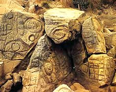 Petroglyphs at Preminghana (formerly Mount Cameron West), Tasmania. Thought to be about 1,500 years old