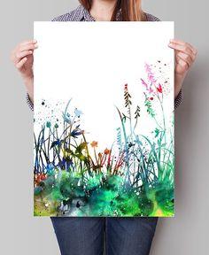 Flowers Art Print Set Home Decor Watercolor Flowers Painting